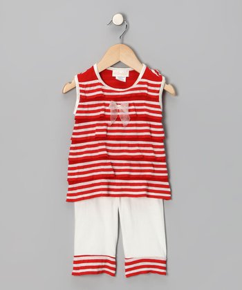 Red & Cream Stripe Ahoy Tank & Capri Pants - Infant & Toddler