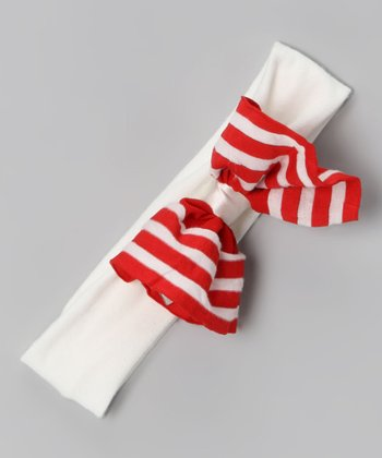 Red & Cream Stripe Ahoy Headband