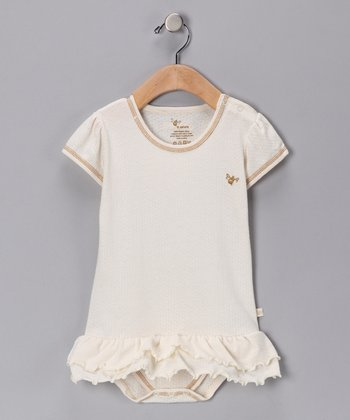 Ivory Pointelle Organic Skirted Bodysuit