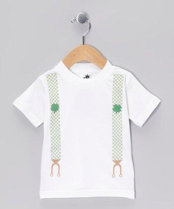 Ba Ba Bling Baby White Shamrock Suspenders Tee - Infant, Toddler & Boys