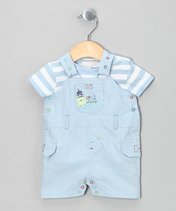 Baby Blue Stripe Bodysuit & Shortalls