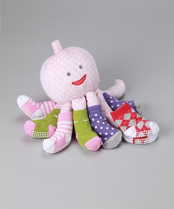 Pink Mrs. Sock T. Pus Octupus Plush & Socks Set