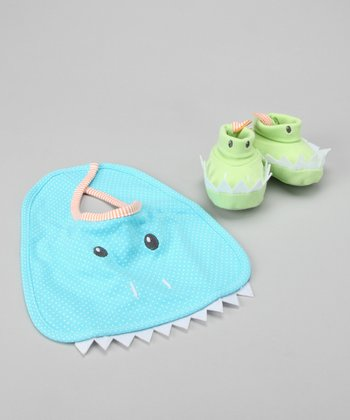 Blue Chomp & Stomp Dinosaur Bib & Booties
