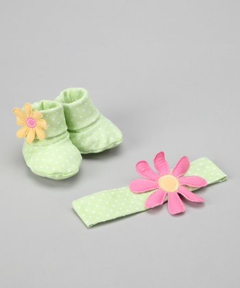 Green Bunch O' Blooms Headband & Booties Set