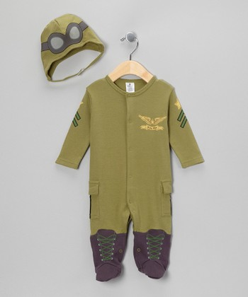 Olive Green Big Dreamzzz Pilot Layette Set