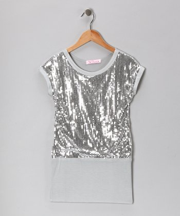 Baby Baby by Blush Silver Sequin Drop-Waist Dress - Girls