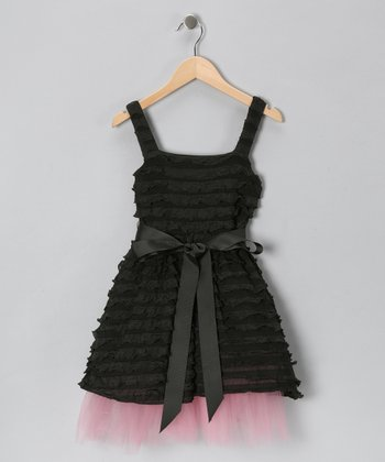 Baby Baby by Blush Black Tulle Ruffle Dress - Infant