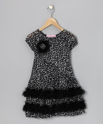 Black Cheetah Ruffle Dress - Girls
