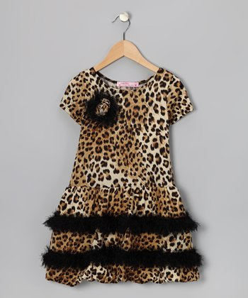 Taupe Cheetah Ruffle Dress - Girls