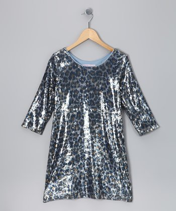 Gray & Silver Cheetah Sequin Long-Sleeve Dress - girls