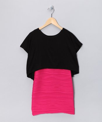 Black & Fuchsia Layered Dress