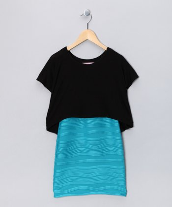 Black & Turquoise Layered Dress