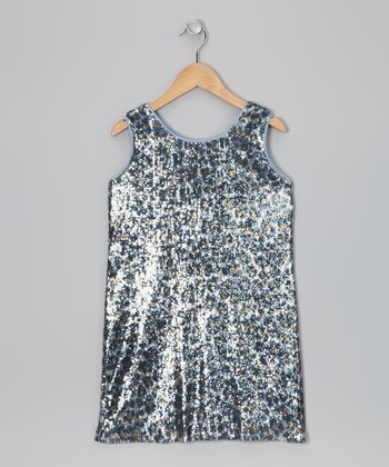 Gray & Silver Cheetah Sequin Dress - Girls