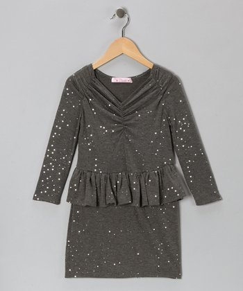 Baby Baby by Blush Charcoal Sequin Peplum Dress - Girls