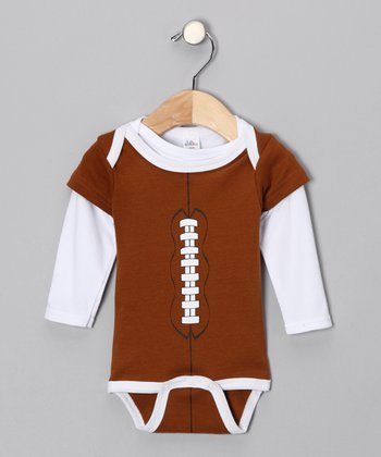 Brown Football Bodysuit & Tee - Infant