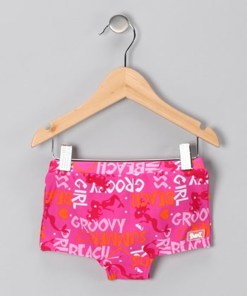 Pink 'Groovy' Swim Shorts - Girls