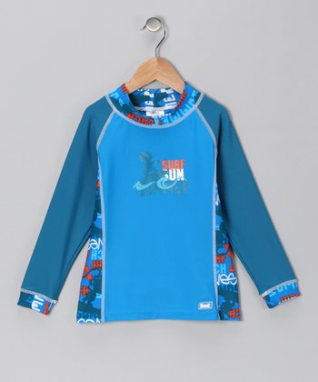 Blue Sun Surf Long-Sleeve Rashguard - Infant, Toddler & Boys
