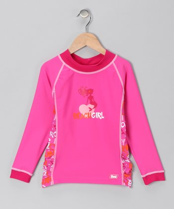Pink Mermaid 'Beach Girl' Long-Sleeve Rashguard - Infant & Girls