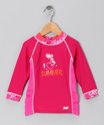 Pink Mermaid 'I Love Summer' Rashguard - Infant & Girls