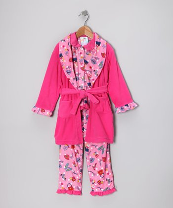 Pink Hat & Purse Bathrobe Set - Girls