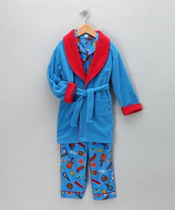 Blue & Red All-Star Bathrobe Set - Boys