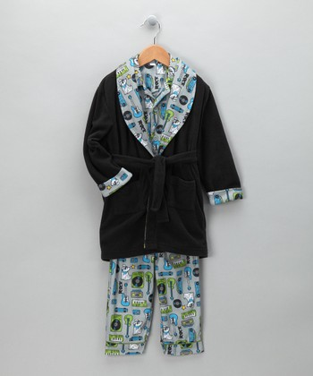 Navy Rock Dog Bathrobe Set - Boys