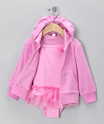 Baby Buns Pink Skirted One-Piece & Cover-Up - Girls