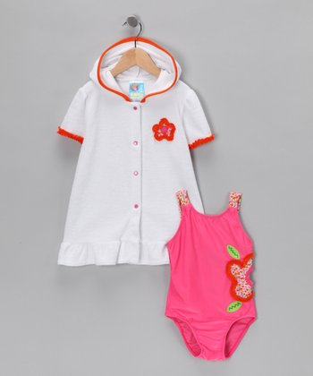 Baby Buns Pink Flower One-Piece & Cover-Up - Girls