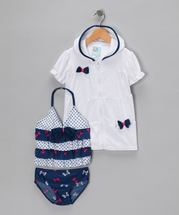 Navy & White Tankini Set - Infant
