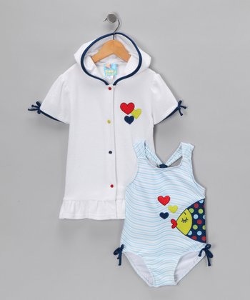 Baby Buns Blue Fish One-Piece & Cover-Up - Toddler