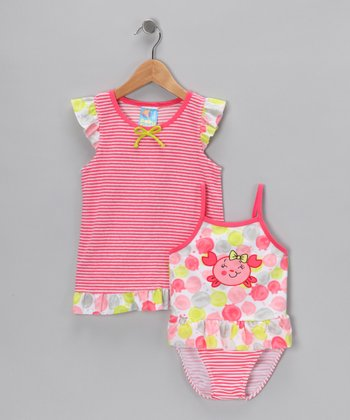 Pink Stripe One-Piece & Cover-Up - Toddler