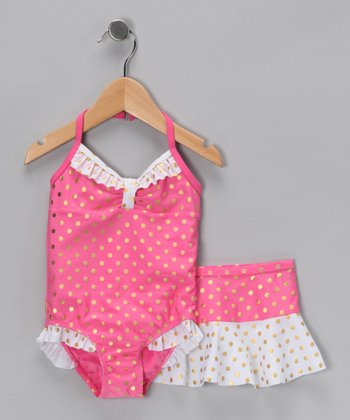 Fuchsia Polka Dot One-Piece & Skirt - Infant