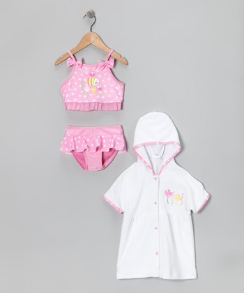 Pink Polka Dot Bee Bikini & Cover-Up - Toddler