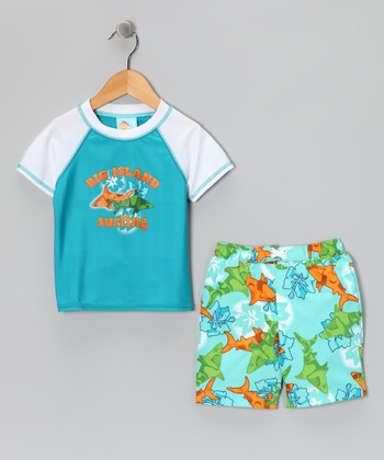 Blue Shark Rashguard & Swim Trunks - Infant & Toddler