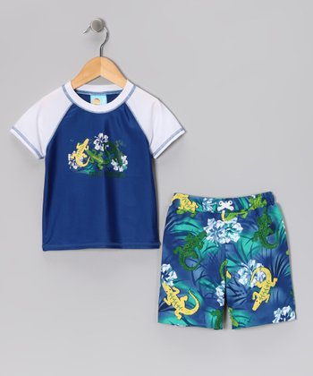 Navy Gator Rashguard & Swim Trunks - Infant & Toddler