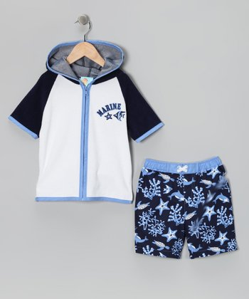 Marine Life Swim Trunks & Cover-Up - Toddler