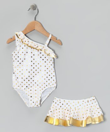 White Hula Glitz One-Piece & Skirt - Infant