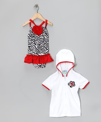Red Zebra Skirted One-Piece & Cover-Up - Infant