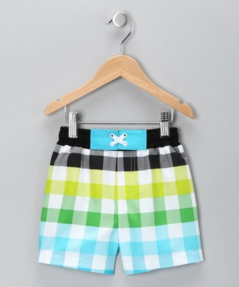 Blue & Yellow Gingham Swim Trunks - Infant