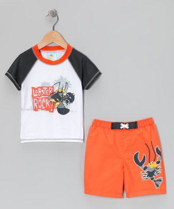 Orange Lobster Rashguard & Swim Trunks - Boys