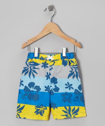 Blue & Yellow Hibiscus Color Block Boardshorts - Boys