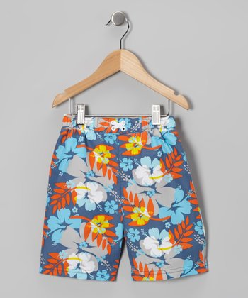 Blue & Red Surf's Up Boardshorts - Infant