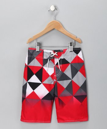 Red Geometric Swim Trunks - Boys