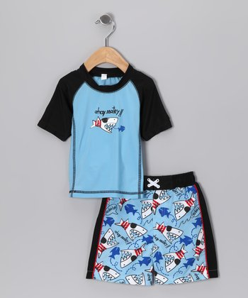 Baby Buns Blue Pirate Shark Rashguard & Swim Trunks - Toddler