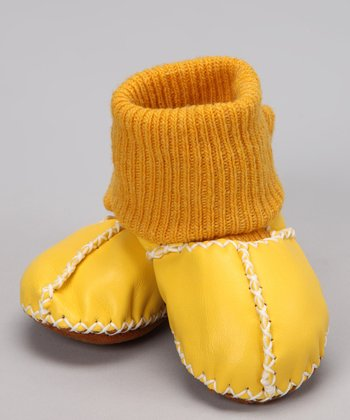 Yellow Suede Sock Booties