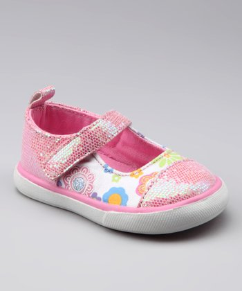 White & Pink Glitter Sneaker Mary Jane