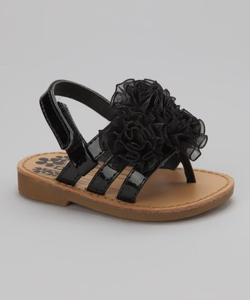Black Strappy Flower Sandal