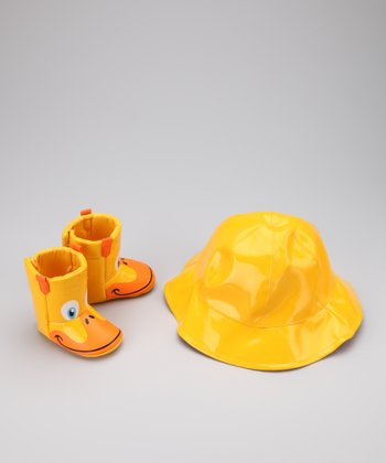Yellow Duck Rain Boot & Hat