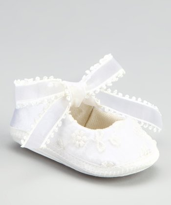 White Flower Ribbon Flat