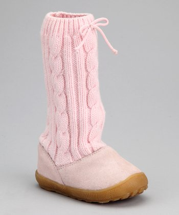 Pink Suede Cable-Knit Slouch Boot